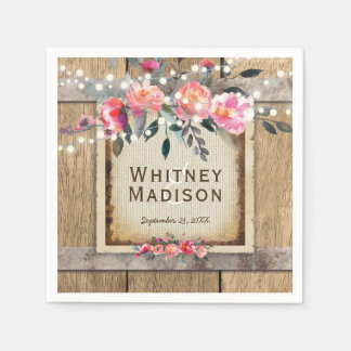 Rustic Country Oak Barrel Burlap and Wood Wedding Paper Napkin