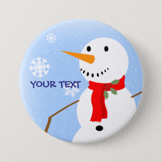Rustic Country Old Fashioned Snowman 3 Inch Round Button