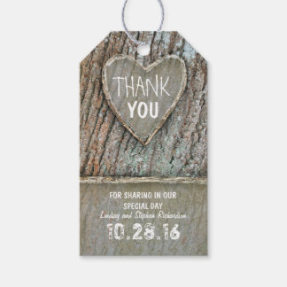 Rustic country old tree heart Thank You tags Pack Of Gift Tags