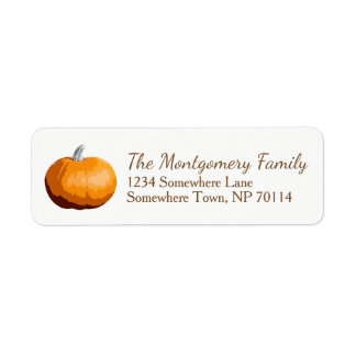 Rustic Country Orange Fall Harvest Pumpkin Return Address Label