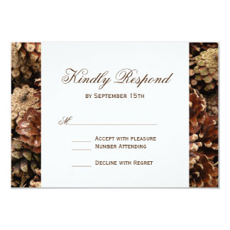 Rustic Country Pine Cone Wedding RSVP Cards