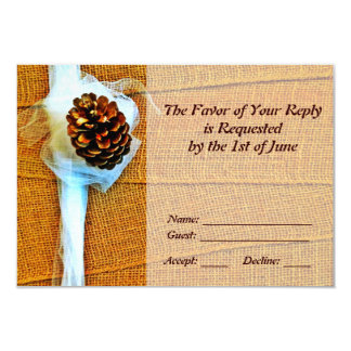 Rustic Country Pinecone Wedding RSVP Cards