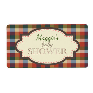 Rustic Country Plaid Labels