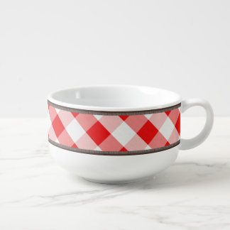 Rustic Country Red White Gingham 24oz Soup Mug