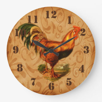 Rustic Country Rooster Ornate Kitchen Wallclock
