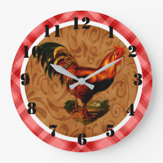 Rustic Country Rooster Ornate Large Clock