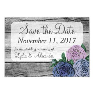 "Rustic Country Roses Wedding Save The Date 3.5"" X 5"" Invitation Card"