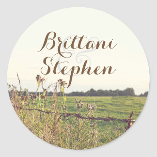 Rustic Country Rural Fence Round Sticker