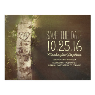 Rustic country save the date with birch tree postcard