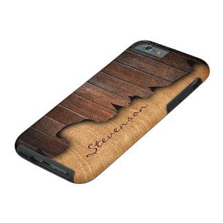 Rustic Country Splintered Wood Look Monogram Name Tough iPhone 6 Case