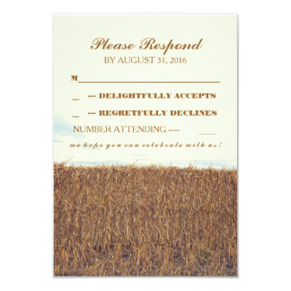 rustic country straw bale wedding RSVP cards