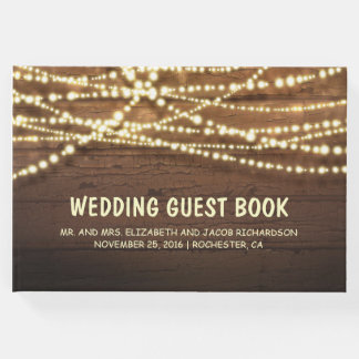 Rustic Country String Lights Barn Wood Wedding Guest Book