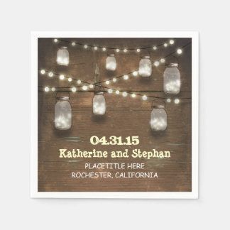 rustic country string lights mason jars napkins paper napkin