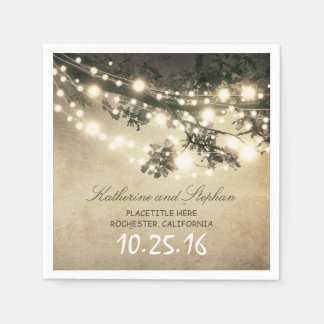rustic country string lights paper napkins