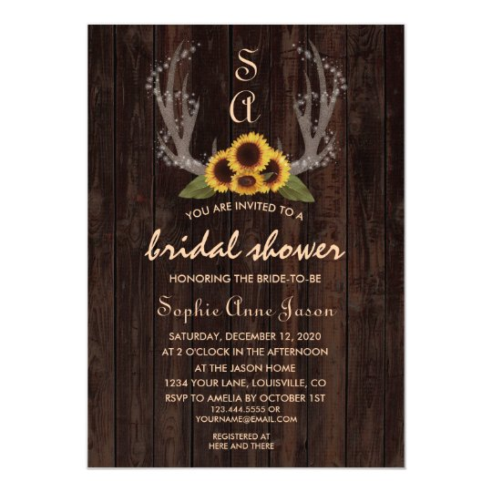 Rustic Country Sun Flowers Antlers Engagement Card