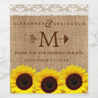 Rustic Country Sunflower Burlap Monogram Wedding Wine Label
