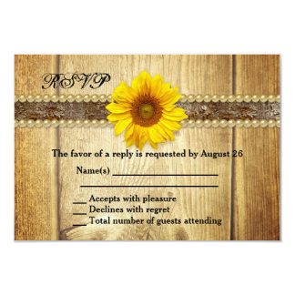 Rustic Country Sunflower RSVP Invitation