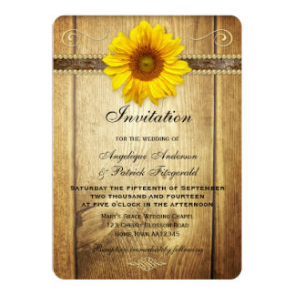 Rustic Country Sunflower Wedding Invitation