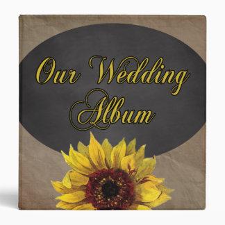 Rustic Country Sunflower Wedding Photo Album 3 Ring Binders