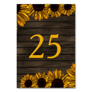 Rustic Country Sunflowers Barn Wood table number Table Card