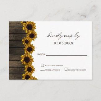 Rustic Country Sunflowers Barn Wood Wedding rsvp