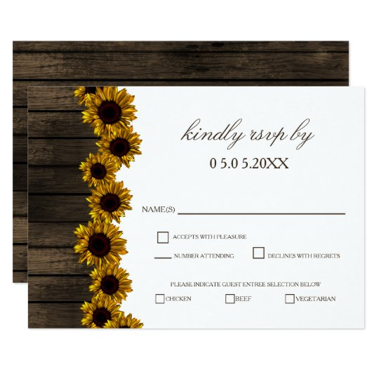 Rustic Country Sunflowers Barn Wood Wedding rsvp Card