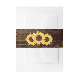 Rustic Country Sunflowers Belly Band Invitation Belly Band