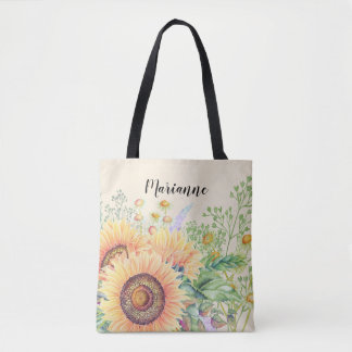 Rustic   Country Sunflowers   Custom Name Tote Bag