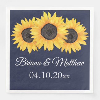 Rustic Country Sunflowers on Blue Dinner Napkin