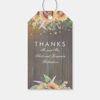Rustic Country Sunflowers Wood String Lights Pack Of Gift Tags
