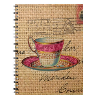 Rustic country tea party pink victorian teacup notebook