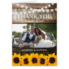 Rustic Country Thank You | Sunflower Wedding Card
