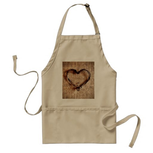 Rustic Country Twine Heart on Burlap Print Apron