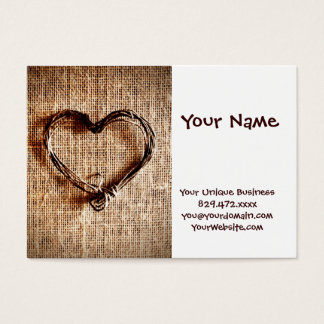 Rustic Country Twine Heart on Burlap Print Business Card