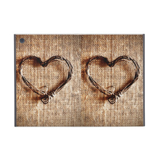 Rustic Country Twine Heart on Burlap Print Case For iPad Mini