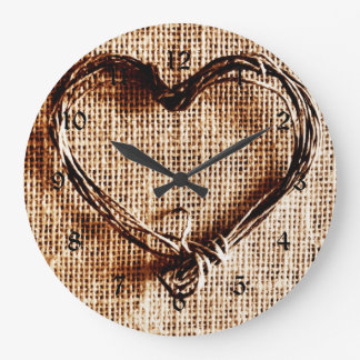 Rustic Country Twine Heart on Burlap Print Large Clock