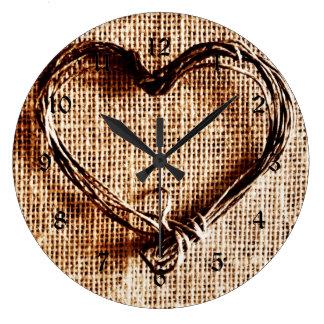 Rustic Country Twine Heart on Burlap Print Wall Clocks