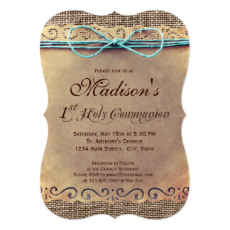 Rustic Country Vintage 1st Communion Invitations