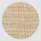 Rustic Country Vintage Burlap Classic Round Sticker