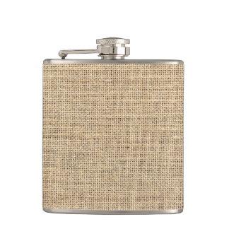 Rustic Country Vintage Burlap Hip Flask