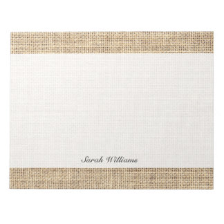Rustic Country Vintage Burlap Notepad