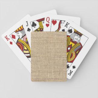 Rustic Country Vintage Burlap Poker Deck