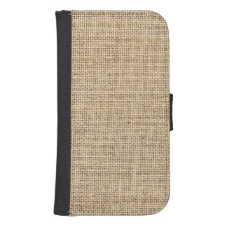 Rustic Country Vintage Burlap Samsung S4 Wallet Case