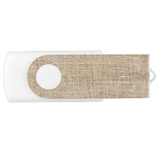 Rustic Country Vintage Burlap Swivel USB 2.0 Flash Drive