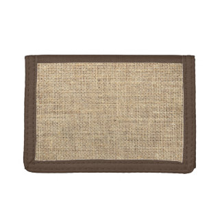 Rustic Country Vintage Burlap Trifold Wallets