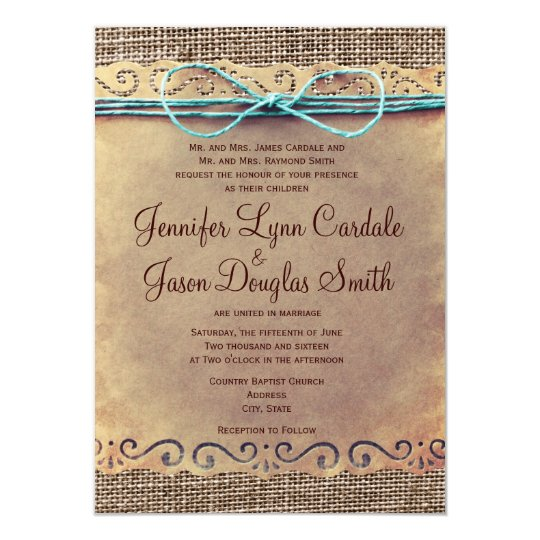 Cheap Country Wedding Invitations: Rustic Country Vintage Burlap Wedding Invitations