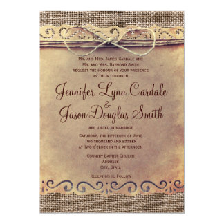 "Rustic Country Vintage Burlap Wedding Invitations 5"" X 7"" Invitation Card"