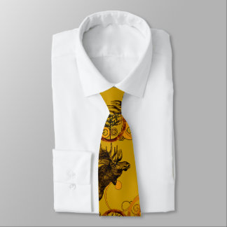 Rustic Country Vintage Forest Moose Tie