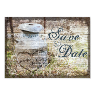 """Rustic Country Vintage Milk Can Save the Date 5"""" X 7"""" Invitation Card"""
