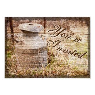 Rustic Country Vintage Milk Can Wedding Invites